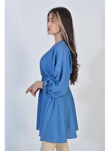 Zeren Kadın Mavi Bel Kol Sıkma Tunik Mavi